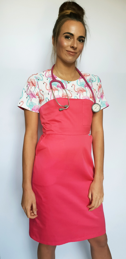 Sukienka medyczna wzór flamingi EFIMED