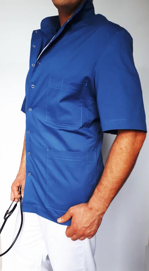 Marynarka lekarska męska fason prosty zapinana na napy wzór na stójkę EFIMED