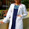 Fartuch lekarski damski prosty zapinany na napy wzór długi rękaw EFIMED