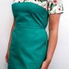 Sukienka medyczna damska taliowana wzór kwiaty zielone EFIMED