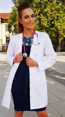 Fartuch lekarski damski taliowany zapinany na napy wzór długi rękaw EFIMED