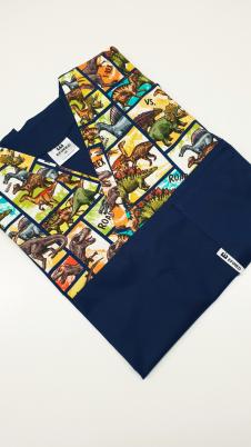 Bluza medyczna męska bawełna premium wzór wstawka dinozaury komiks kolor granat EFIMED