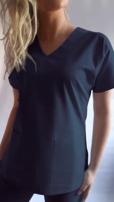 Bluza medyczna damska taliowana wzór jednokolorowa BAWEŁNA PREMIUM EFIMED