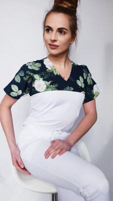 Bluza medyczna damska taliowana wzór wstawka różyczki ciemne kolor biały EFIMED