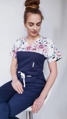 Bluza medyczna damska taliowana wzór wstawka różyczki granatowe kolor granat BAWEŁNA PREMIUM EFIMED
