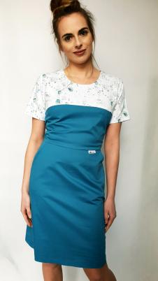 Sukienka medyczna taliowana wzór eucaliptus kolor morski BAWEŁNA PREMIUM EFIMED