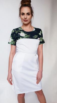 Sukienka medyczna damska taliowana wzór różyczki ciemne kolor biały EFIMED