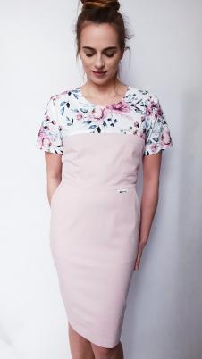 Sukienka medyczna taliowana wzór różyczki granatowe kolor pudrowy róż BAWEŁNA PREMIUM EFIMED