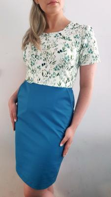 Sukienka medyczna taliowana dwukolorowa wzór eucaliptus kolor morski BAWEŁNA PREMIUM EFIMED