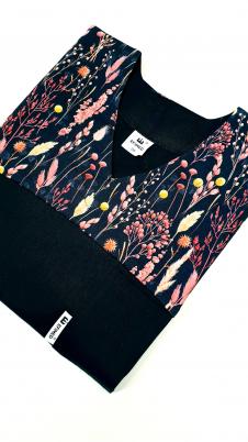 Bluza medyczna damska taliowana wzór wstawka kłosy kolor czarny BAWEŁNA PREMIUM EFIMED