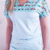 Bluza medyczna damska taliowana wzór wstawka pogotowie kolor błękit BAWEŁNA PREMIUM EFIMED