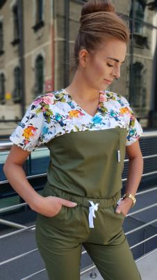 Bluza medyczna damska taliowana super oddychająca wstawka wzór ptaki kolor khaki nitka węglowa EFIMED