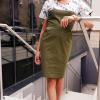 Sukienka medyczna damska super oddychająca taliowana wstawka wzór kwiaty zielone z nitką węglową kolor khaki EFIMED