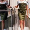 Sukienka medyczna damska super oddychająca taliowana wstawka wzór ptaki z nitką węglową kolor khaki EFIMED