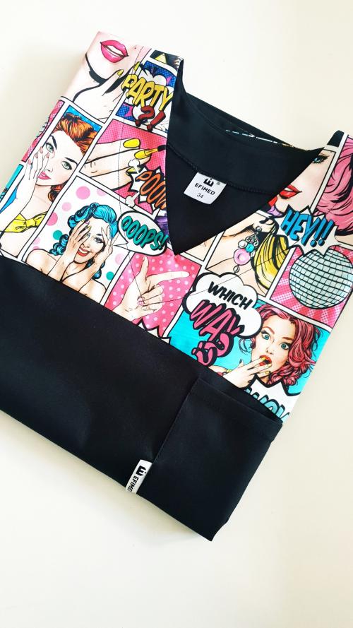 Bluza medyczna damska taliowana wzór wstawka komiks kolor czarny BAWEŁNA PREMIUM EFIMED