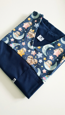 Bluza medyczna damska taliowana wzór wstawka leniwce kolor granat BAWEŁNA PREMIUM EFIMED