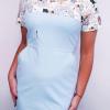 Sukienka medyczna taliowana wstawka wzór kotki nowe błękit BAWEŁNA PREMIUM EFIMED