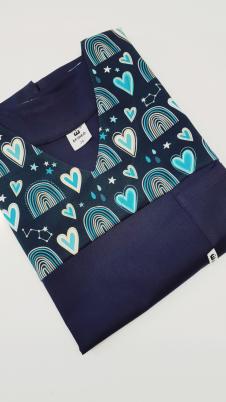 Bluza medyczna damska taliowana wzór wstawka serduszka kolor granat BAWEŁNA PREMIUM EFIMED